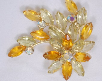 Antique Flower Brooch lucite and beautiful hinged rhinestones circa 1940's
