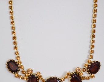 "Necklace vintage 15 1/2"" Adjustable Beautiful Dark Brown Stones"