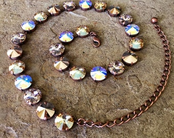 GOLDEN SHADOW Swarovski crystal 12mm jewelry set - necklace, bracelet, earrings select your piece - neutral colors