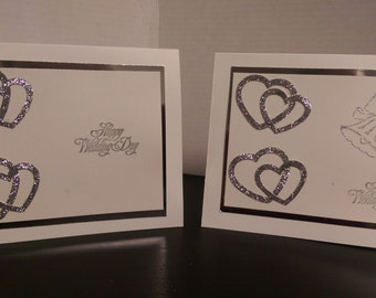 Silver Hearts Wedding Card