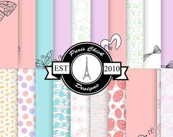 Paris Chick Designs Easter Digital Printable Scrapbooking Paper - 20 Pack