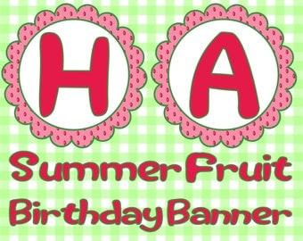 Summer Fruit Birthday Banner- INSTANT DOWNLOAD!!!