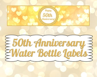 50th Anniversary Water Bottle Labels- INSTANT DOWNLOAD