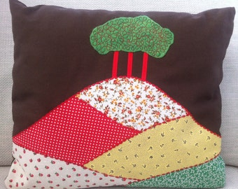 Handmade Fabric Collage Cushion Colmers Hill Dorset