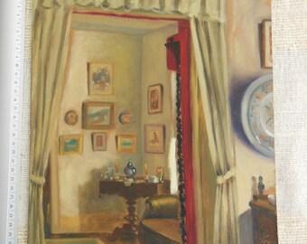 Interior room - oil on wood