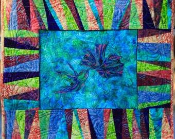 Hummingbird thread-sketch wallhanging quilt