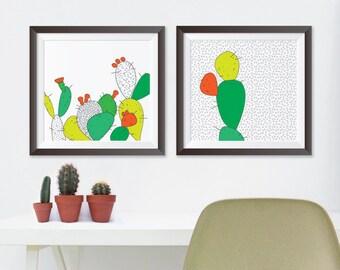 Bold Cactus Pair of Prints