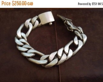 ON SALE Vintage Mexican Sterling Silver Bracelet - Very Heavy