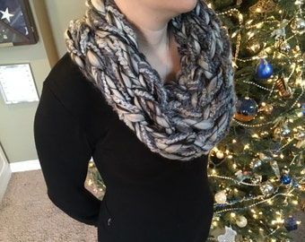 Soft, chunky hand knit infinity cowl