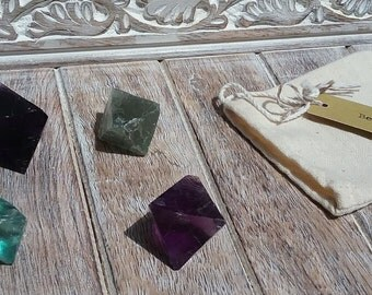 Violet and Green Fluorite Octohedron
