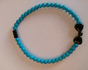 Magnetic Turquoise Bracelet with Onyx Bob