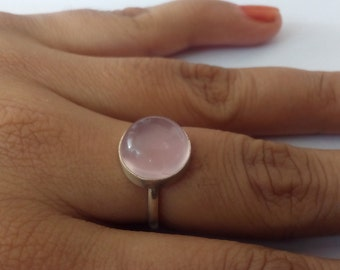 Rose Quartz Ring, Silver Ring, Silver Rose Quartz Ring,92.5% solid sterling Silver Ring, Pure Sterling Silver Ring, size 3-12(USA Standard)