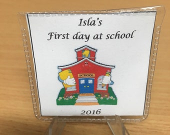 personalised first school day sixpence keepsake