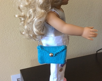 Turquoise Hand-Knitted and Felted Purse for AG Dolls