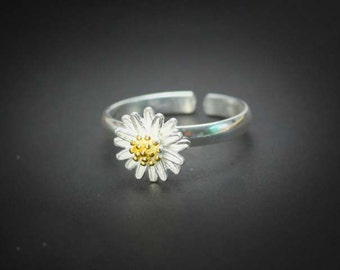 Ring Silver Ring Flower Ring Daisy Ring Sterrling Ring  Adjustable Ring Statement ring, Retro ring cute Ring Flower Ring