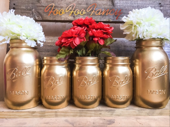 Sale set of gold mason jars centerpieces decor