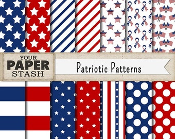 Patriotic Digital Paper, Patriotic Scrapbook Paper, Red White & Blue, Stars and Stripes, Digital Scrapbooking Paper, Commercial Use