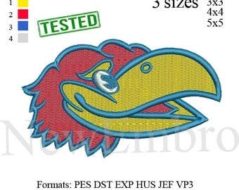 Kansas University jayhawks KU logo Embroidery Design embroidery pattern No 284 ...3sizes: