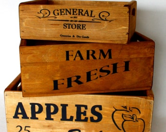 wooden boxes, wooden crate, solid pine , storage crate, set of three, farm fresh , general store, kitchen storage, vintage style