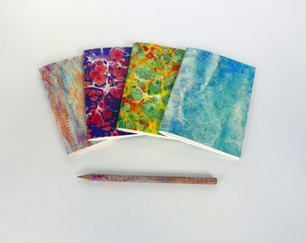 4 little notebook with motifs of marbled papers - 27 different patterns available