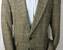 Men's Vintage Oakton Ltd 100% Wool Plaid Blazer Size 44R | 2 Button Sport Coat