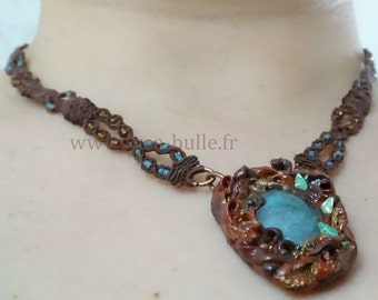 polymer clay ornamented cabochon necklace