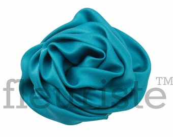 TEAL Satin Rosette, Rolled Rosette, Fabric rose, Rolled Rosette, Wholesale Flower, Fabric Flower, Wedding Flower, Flower Embellishment
