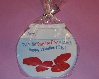 FISH VALENTINE CARDS,Valentine candy,fish valentine,fish bowl valentine,Valentines day,fishing Valentine,kids valentine cards