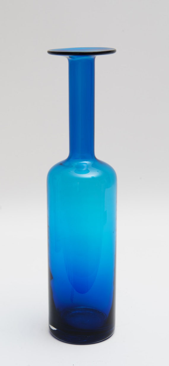 handblown stretched blue glass vase