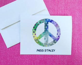 Peace sign PERSONALIZED Notecards, Set of 10 Notecards & Envelopes, Tie Dye