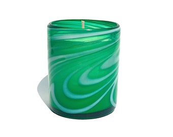 "Hand Blown Recycled Glass ""Whirling Emerald"" Green & White Art Tumbler Vanilla Soy Candle"