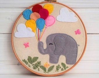 Embroidery hoop art, Elephant, Fabric Wall Hanging, Nursery Wall Art, Baby Shower Gift, Gift Under 50, Nursery Decor, Art Embroidery