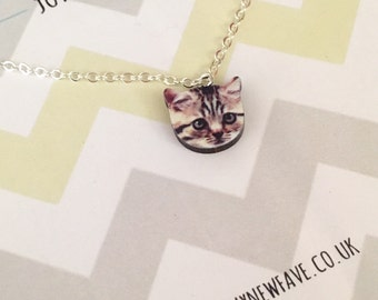 Tabby Cat Necklace, kitty, cat jewellery, pet, tabby, wooden laser cut necklace