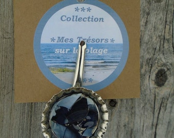 Hairs Siren's hair pin, beach style, hair clip, barrette, barrette for hair, blue, made of mussels, Something blue.