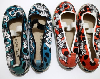 Custom shoes handpainted flats hippie style Octopus [available in 2 colours]
