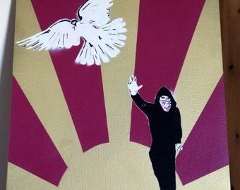 Throw Back Peace - Stencil & Spray Paint Art Work