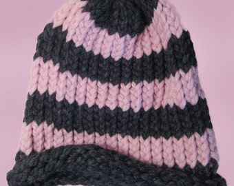 Pink and Black Winter Hat