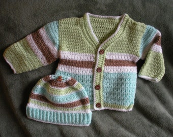 Baby boy cardigan and cap, 3 to 6 months B0002