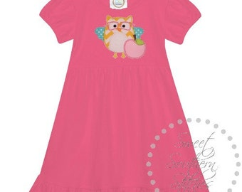 Owl Back To School Dress -  EMBROIDERED