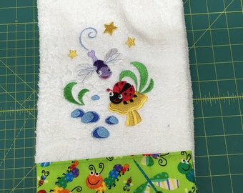 Embroidered hand towel for little girls who love ladybugs or dragonflys
