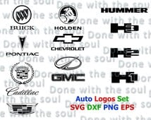 Auto Logos Set - Chevrolet logo - Car logo - Car emblem – Chevy logo – Cadillac logo - Pontiac logo - Buick logo - Vehicle logos – SVG - DXF