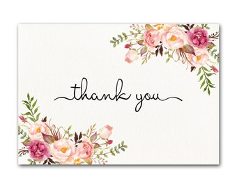 Ivory Thank you Card, Floral Thank You Card, Wedding Thank You Cards, Chic Thank You Card, Thank You Note, Floral Thank You Card, Digital