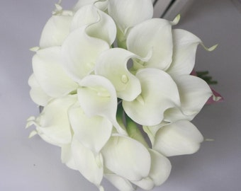 Artificial calla lily bouquets flowers white latex calla lily flowers for wedding decoration