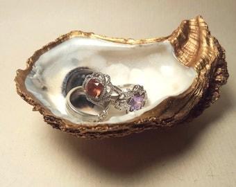 Gold Louisiana Oyster Shell Ring Dish Salt Cellar