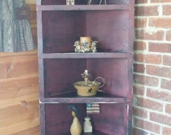 Large Corner Shelf Rustic Primitive