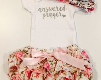 Answered Prayer Outfit Set, Baby Girl Outfit Set, Diaper Cover, Headband, Onesie, Girl Onesie Set, Coming Home Outfit, Pink Floral