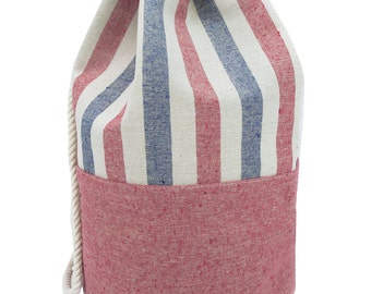 Striped Canvas Beach Bag - BackPack - Inside Lining - Eco Friendly