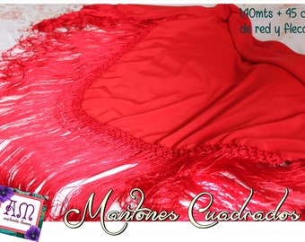 Mantón Plain Silk spanish flamenco- Hand Made - silk piano shawl, dancewear, parties dress