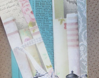 Vintage Books and Teapots bookmarks x 2