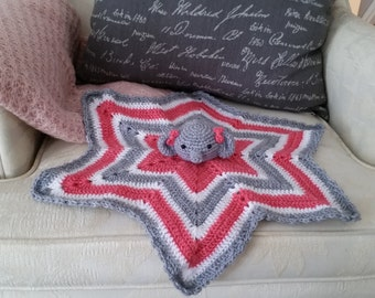 Elephant Lovey Blanket/security blanket/baby nap blanket/elephant security blankey/elephant baby blanket